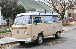 Volkswagen Camper Bus. The Volkswagen Type 2, known officially depending on body type as the Transporter, Kombi or Microbus, or, informally, as the Bus or Camper royalty free stock photo
