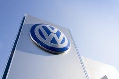 Volkswagen car maker logo on a building of czech dealership Royalty Free Stock Photo