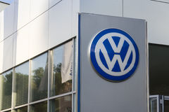 Volkswagen car maker logo on a building of czech dealership Stock Photo