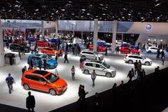 Volkswagen car visitors Frankfurt Motor Show. FRANKFURT, GERMANY - SEP 16, 2015: New Volkswagen cars shown during IAA 2015 motor show Stock Photos