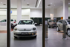 Volkswagen cars for sale. Volkswagen cars in showroom for sale.  2014.06 Royalty Free Stock Image
