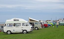 Volkswagen club meet rally. Photo of a volkswagen vintage club meet rally along tankerton slopes in whitstable kent april 2018 stock photos