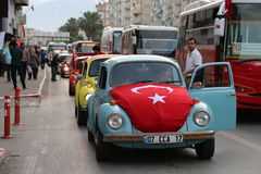 Volkswagen Convoy at Commemoration of Atatürk, Youth and Sports Day. Volkswagen's Bettle is immortal. This car never will be die Stock Photos