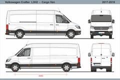 Volkswagen Crafter Carga Van L3H2 2017-2018 ilustração stock