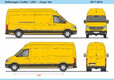 Volkswagen Crafter Cargo Van L3H3 2017-2018 ilustración del vector