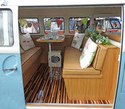 Volkswagen customised interior van. Photo of a vintage classic volkswagen van with customised interior renovation taken 16th july 2017 at whitstable car show in Royalty Free Stock Photography