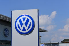 Volkswagen. Dealership with lots of signs against a nice blue sky for your copy - for concepts including car manufacturers, car sales, car dealerships or  as a