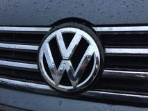 Volkswagen emblem. On car stock photo