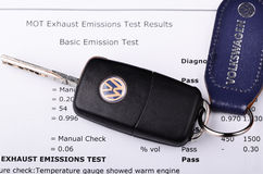 Volkswagen emissions test certificate. LEEDS - SEPTEMBER 24: Vw badge on a steering wheel. Volkswagen admit to fitting diesel engined vehicles with devices which royalty free stock image