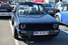Volkswagen golf cabrio 1800 classic car front. Volkswagen golf cabrio 1800 classic convertible car in a parking lot in Cluj-Napoca, Romania Royalty Free Stock Photos