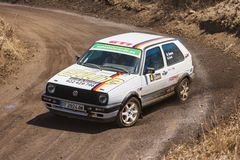 Volkswagen Golf GTI mk2 during rally show. LA PALMA, SPAIN - SEPTEMBER 10: Volkswagen Golf GTI mk2 during rally show Villa de Mazo on September 10, 2016 in La Royalty Free Stock Photos