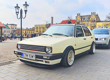 Volkswagen Golf II after tuning parked. Classic German car Volkswagen Golf II tuned, parked in Swiecie, Poland Royalty Free Stock Photography