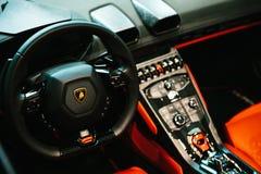 Berlin, October 2, 2017: Volkswagen Group Forum - auto show in Berlin. Close-up. Luxury driver`s seat - beautiful stock images