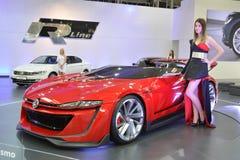 Volkswagen GTI Roadster. Computer game Gran Turismo 6 concept car at Bratislava Motorshow 2015 stock photography