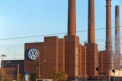Volkswagen Heating Plant. Wolfsburg, Germany - September 26, 2015: Heating station at Volkswagen industrial area, famous landmark of Wolfsburg, Lower Saxony Stock Image