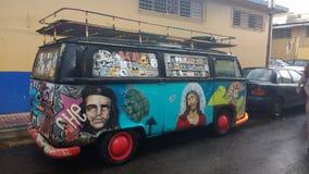 Volkswagen-Hippie Van Rincon, Puerto Rico stock afbeelding