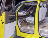Volkswagen I.D. BUZZ Concept Interior. DETROIT, MI/USA - JANUARY 10, 2017: No steering wheel in the Volkswagen I.D. BUZZ Concept van at the North American stock images