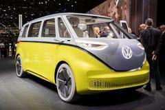 Volkswagen I.D. Buzz electric self-driving van. GENEVA, SWITZERLAND - MARCH 7, 2018: Volkswagen I.D. Buzz electric self-driving van showcased at the 88th Geneva stock images