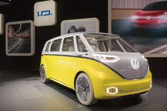 Volkswagen I.D. Buzz Van Concept on display during LA Auto Show. Los Angeles, USA - November 30, 2017: Volkswagen I.D. Buzz Van Concept on display during LA Auto stock image