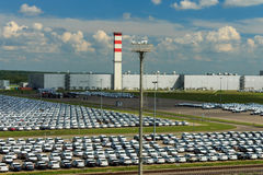 Volkswagen - JUNE 16, 2016: New cars parked at distribution cent Stock Photo