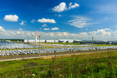 Volkswagen - JUNE 16, 2016: New cars parked at distribution cent Stock Photography