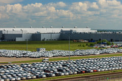 Volkswagen - JUNE 16, 2016: New cars parked at distribution cent Royalty Free Stock Images