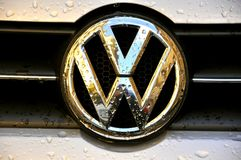 Volkswagen logo. On a car with rain drops Royalty Free Stock Images