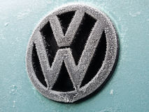 Volkswagen logo covered with frost - Warsaw, Poland, 04.02.2015 Royalty Free Stock Photography