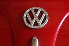 Volkswagen. The logo on the hood of a Volkswagen stock photo