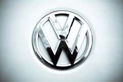 Volkswagen logo. Well-known auto,Volkswagen logo close-up Royalty Free Stock Photos