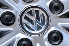 Volkswagen logo on wheel. Volkswagen logo on silver wheel Stock Images