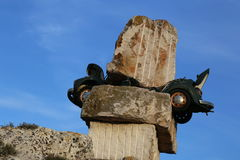 Volkswagen maggiolino. Car crush in Matera modern art museum Stock Photo