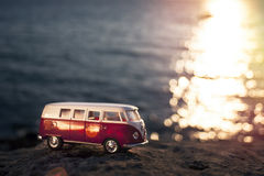 Volkswagen Microbus. Izmir, Turkey - July 18, 2015: Product shot of Volkswagen microbus toy car on the sunset stock image