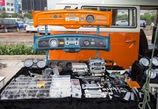Volkswagen microbus owner sell VW used spare parts. Nonthaburi, Thailand - March 10, 2018: VW microbus owner sell VW used spare parts in volkswagen club meeting stock photography