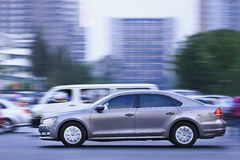 Volkswagen Passat B7 downtown at dusk, Beijing, China Royalty Free Stock Image