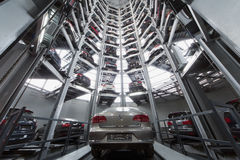 Volkswagen Passat in the center of the tower to store cars Royalty Free Stock Photo