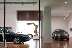 Volkswagen Phaeton cars for sale. Volkswagen Phaeton cars in showroom for sale.  2014.06 Royalty Free Stock Photos