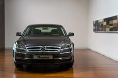 Volkswagen Phaeton for sale. Volkswagen Phaeton in showroom for sale.  2014.06 Royalty Free Stock Images