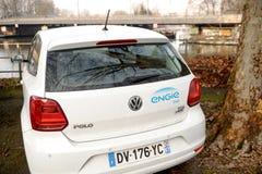 Volkswagen Poli white car from Englie France Stock Image