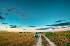 Volkswagen Polo Car Sedan Parking Near Country Road In Summer Field Royalty Free Stock Photography