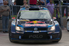 Volkswagen Polo R WRC in Salou , Spain. WRC car of the Team Volkswagen Polo R, with driver Jari-Matti Latvala and his co-driver Miikka Anttila Stage from the Royalty Free Stock Image