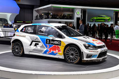 Volkswagen Polo WRC. Pictured at the Geneva Motor Show in Switzerland, 2014 Stock Image