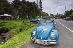 Volkswagen retro vintage car near Richardson ocean park on Sunday Stock Image