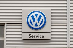 Volkswagen Service Sign and Logo stock images