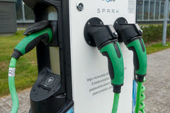 Volkswagen Spark electric car charge station at day time Royalty Free Stock Images