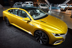 Volkswagen Sport Coupe Concept GTE car. BRUSSELS - JAN 12, 2016: Volkswagen Sport Coupe Concept GTE  car on display at the Brussels Motor Show Royalty Free Stock Photos