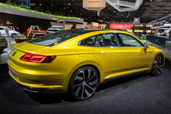 Volkswagen Sport Coupe Concept GTE car. BRUSSELS - JAN 12, 2016: rear view of the Volkswagen Sport Coupe Concept GTE  car on display at the Brussels Motor Show Royalty Free Stock Images