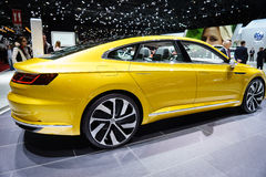 VOLKSWAGEN Sport Coupe Concept GTE, Motor Show Geneve 2015. Show car points to new Passat-based CC Stock Photography