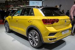 Volkswagen T-Roc compact crossover car. GENEVA, SWITZERLAND - MARCH 6, 2018: Volkswagen T-Roc compact crossover car showcased at the 88th Geneva International Stock Image