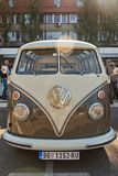 Volkswagen T1 Transporter Kombi or Microbus campervan. Belgrade, Serbia-October 13, 2018: An oldtimer exhibition in the parking lot in front of the Rakovica royalty free stock photography